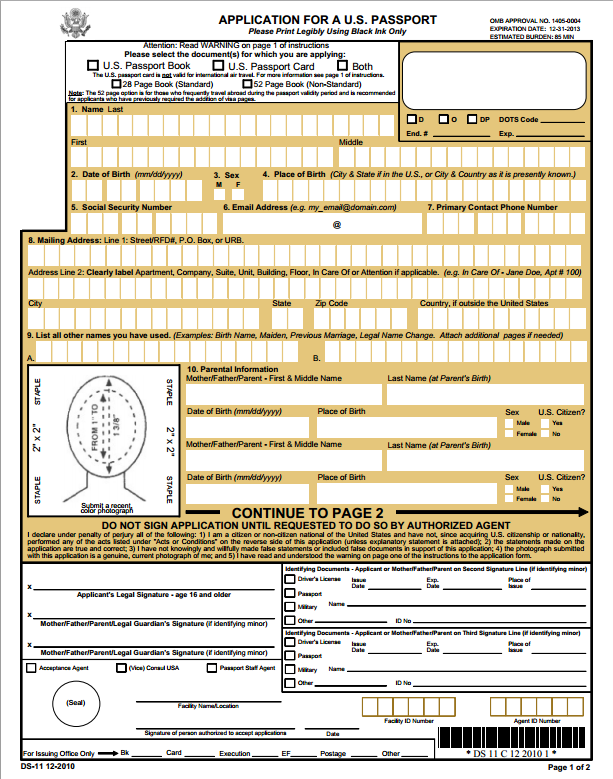 ds 11 new passport form application passport info guide. Black Bedroom Furniture Sets. Home Design Ideas