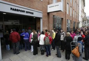 long line at a passport office