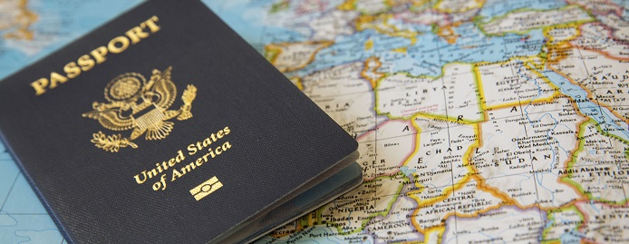 Passport on top of a map