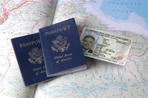 Passport Card and Passport Book on a map