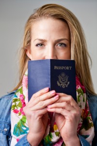 Woman holding a passport