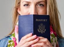 Woman holding a passport