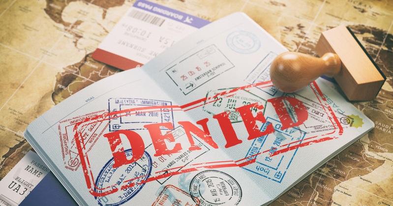 A passport showing a denied stamp